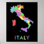 Mapa en colores pastel fresco y colorido del arco póster