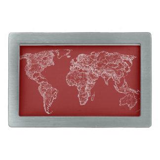 Mapa en rojo hebilla de cinturón rectangular
