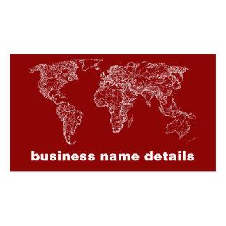 Mapa en rojo tarjetas de visita