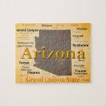 Mapa envejecido del orgullo del estado de Arizona Rompecabezas Con Fotos