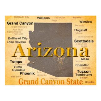 Mapa envejecido del orgullo del estado de Arizona Tarjetas Postales