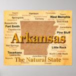 Mapa envejecido del orgullo del estado de Arkansas Poster