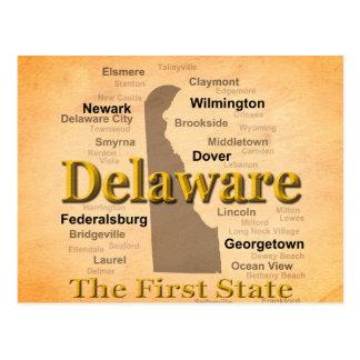 Mapa envejecido del orgullo del estado de Delaware Tarjeta Postal