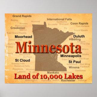Mapa envejecido del orgullo del estado de posters