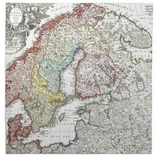 Mapa escandinavo antiguo servilletas de papel