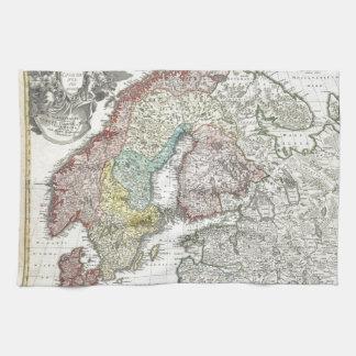 Mapa escandinavo del vintage toallas de cocina