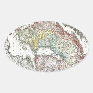 Mapa escandinavo del vintage calcomanía de óval personalizadas