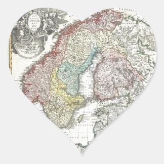 Mapa escandinavo del vintage pegatinas corazon
