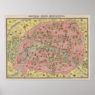 Mapa escénico del viaje de 1920 vistas de París, F Posters