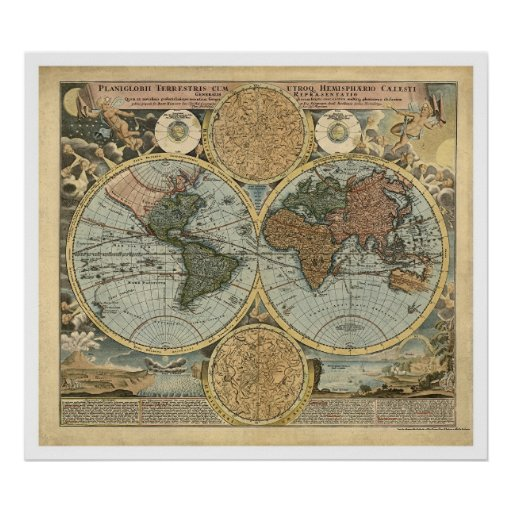 Mapa espectacular del mundo por Homann 1716 Posters