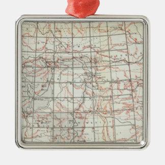 Mapa esquelético adorno navideño cuadrado de metal