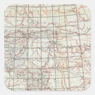Mapa esquelético pegatina cuadrada