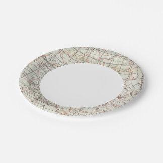 Mapa esquelético plato de papel de 7 pulgadas