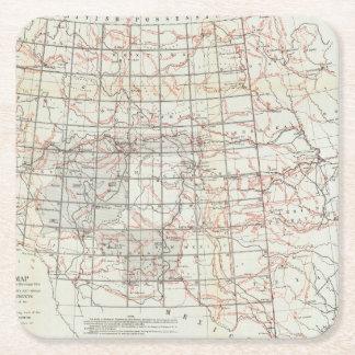 Mapa esquelético posavasos desechable cuadrado