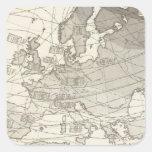 Mapa estadístico geográfico botánico de Europa Pegatina Cuadrada