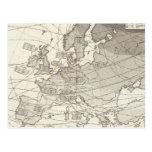 Mapa estadístico geográfico botánico de Europa Tarjeta Postal