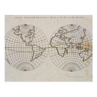 Mapa estereográfico tarjeta postal
