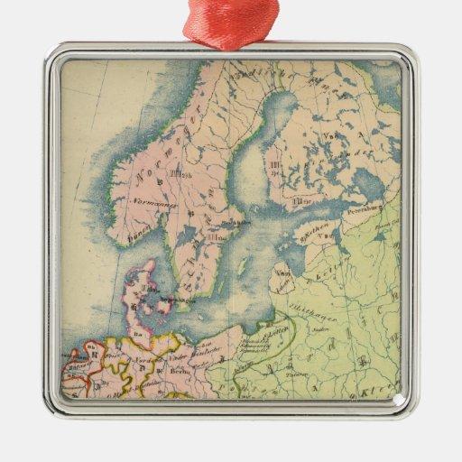 Mapa etnográfico de Europa Adorno Cuadrado Plateado