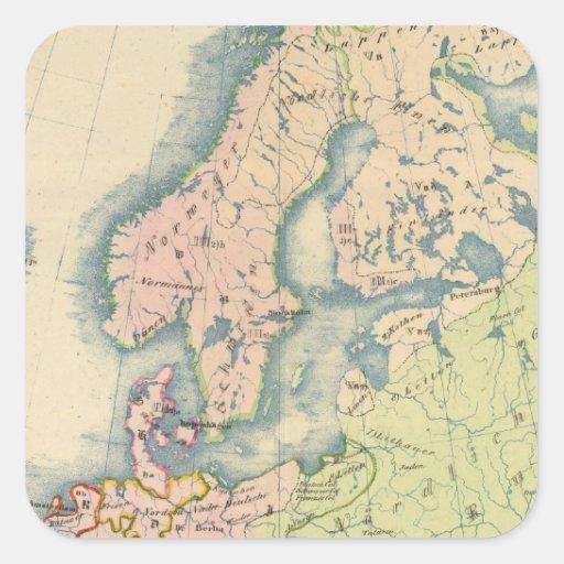 Mapa etnográfico de Europa Pegatina Cuadrada