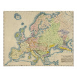 Mapa etnográfico de Europa Póster