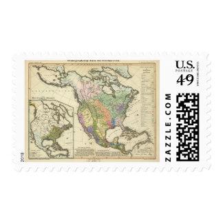 Mapa etnográfico de Norteamérica Sello Postal