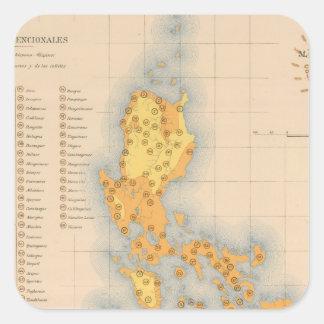 Mapa etnográfico ningunos 3 pegatina cuadrada