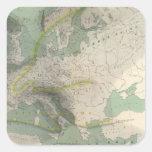 Mapa Europa de Hyetographic Calcomanías Cuadradases