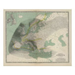 Mapa Europa de Hyetographic Posters