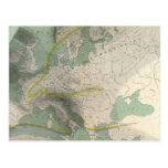 Mapa Europa de Hyetographic Tarjeta Postal