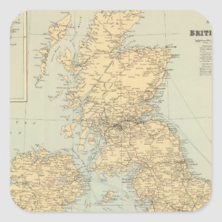 Mapa ferroviario, islas británicas pegatina cuadrada