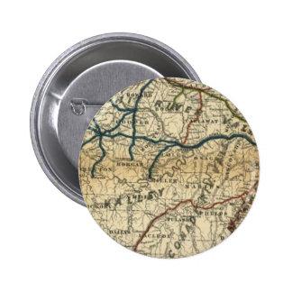 Mapa ferroviario viejo pin redondo de 2 pulgadas