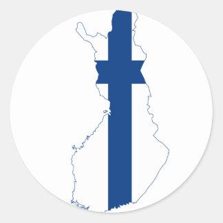 Mapa FI de la bandera de Finlandia Etiqueta Redonda