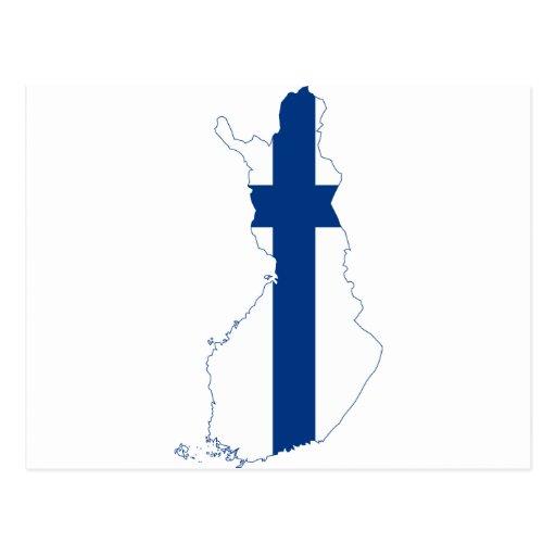Mapa FI de la bandera de Finlandia Postales