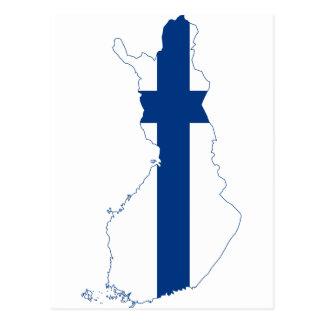 Mapa FI de la bandera de Finlandia Tarjeta Postal
