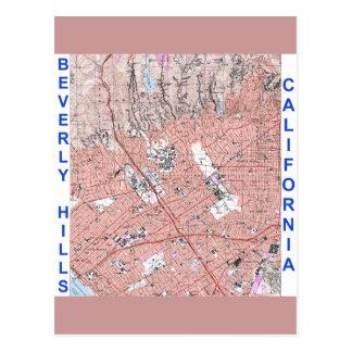 Mapa físico 1995 de Beverly Hills California Tarjeta Postal