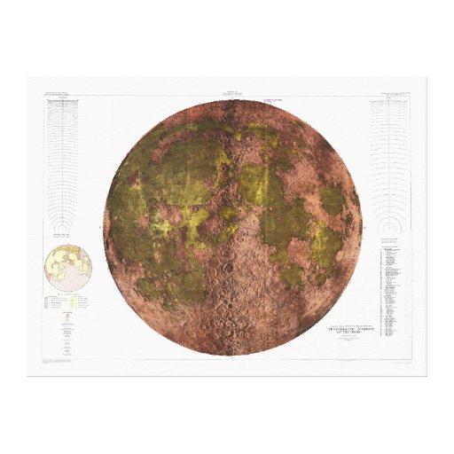 Mapa físico de 1961 U.S.G.S. de la luna Lona Envuelta Para Galerías