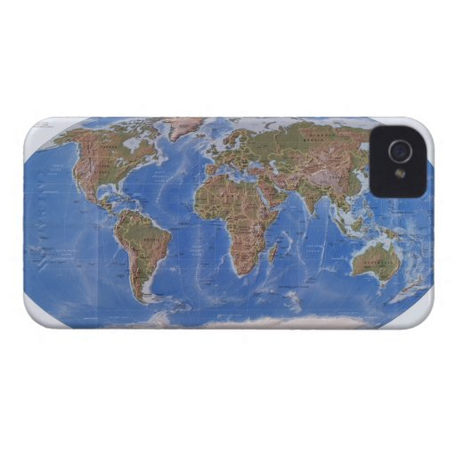 Mapa físico de la tierra Case-Mate iPhone 4 protectores