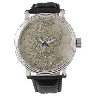 Mapa físico del vintage de Escocia (1880) Reloj De Mano