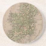 Mapa físico del vintage de Irlanda (1880) Posavaso Para Bebida