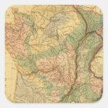 Mapa físico y mineralógico de Francia Pegatina Cuadrada