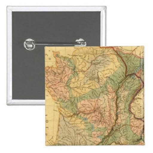 Mapa físico y mineralógico de Francia Pin Cuadrada 5 Cm