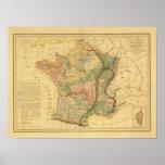 Mapa físico y mineralógico de Francia Póster