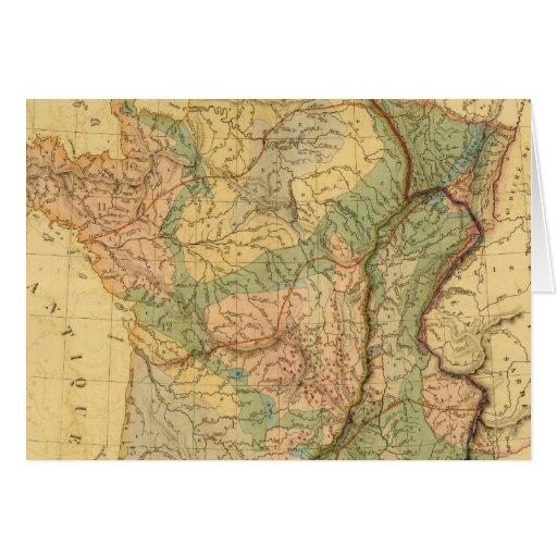 Mapa físico y mineralógico de Francia Tarjeta De Felicitación