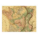 Mapa físico y mineralógico de Francia Tarjeta Postal