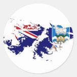 Mapa FK de la bandera de Islas Malvinas (Malvinas) Pegatina Redonda
