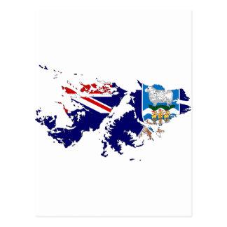 Mapa FK de la bandera de Islas Malvinas (Malvinas) Postales