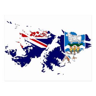 Mapa FK de la bandera de Islas Malvinas (Malvinas) Tarjetas Postales