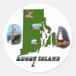 Mapa, fotos y texto de Rhode Island Etiqueta Redonda