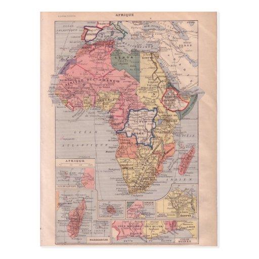 Mapa francés de África 1920 Postales