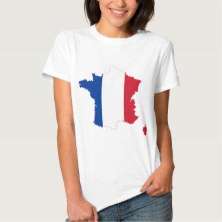 Mapa franco de la bandera de Francia Poleras